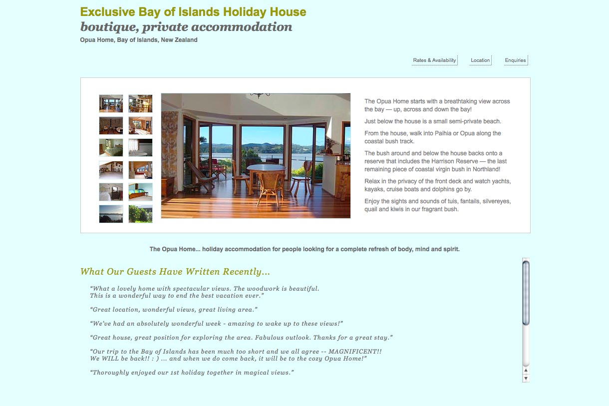 web design for a holiday home in Opua New Zealand