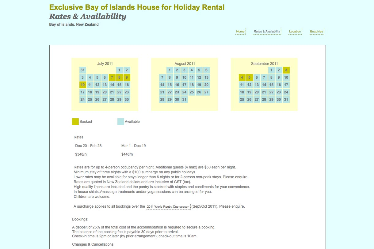 web design for a holiday home in Opua New Zealand - rates and availability page