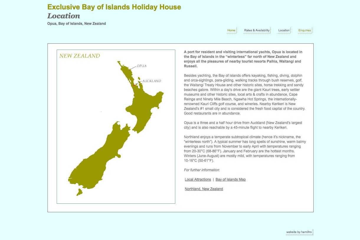 web design for a holiday home in Opua New Zealand - location page