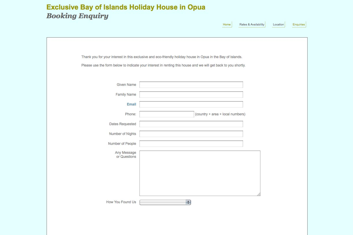 web design for a holiday home in Opua New Zealand - contact page