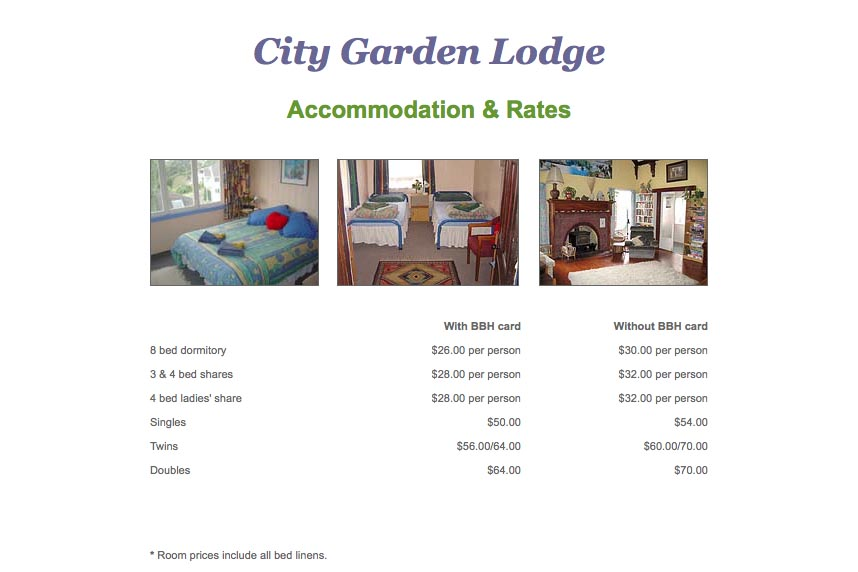 early web design for a budget accommodation lodge - accommodation and rates page