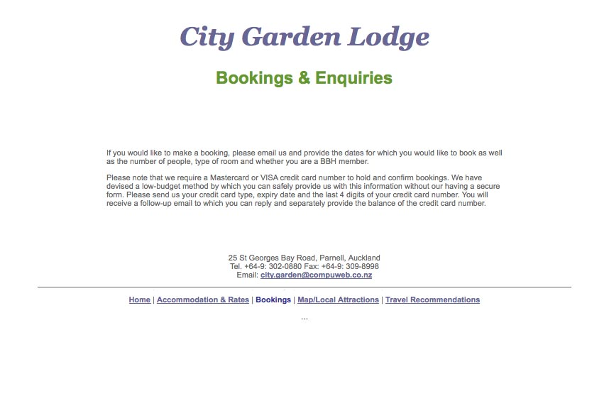 early web design for a budget accommodation lodge - booking and enquiries page