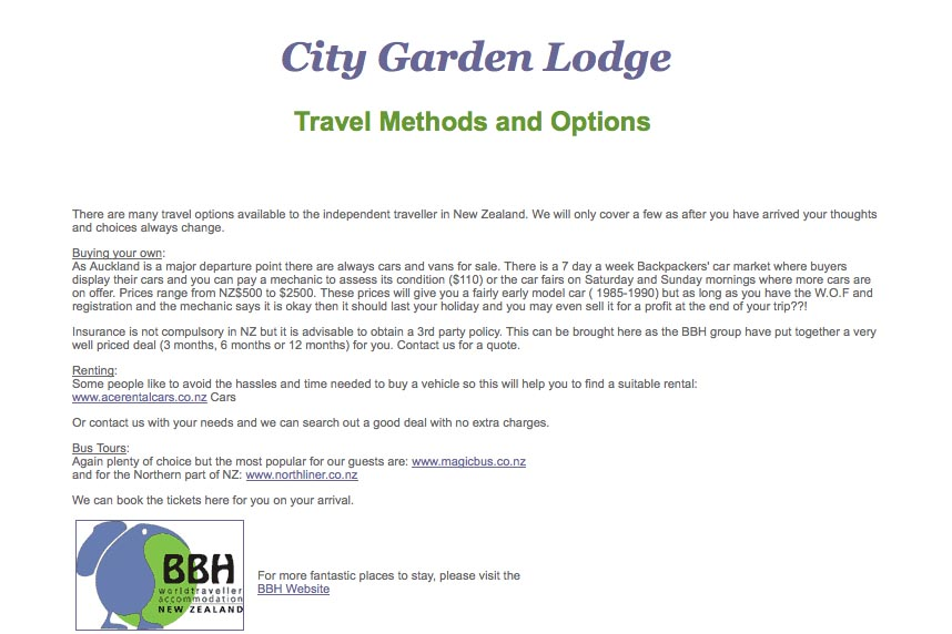 early web design for a budget accommodation lodge - travel options page