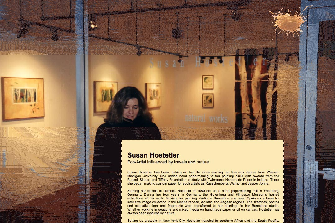 web design for a mixed media artist - Susan Hostetler - about page