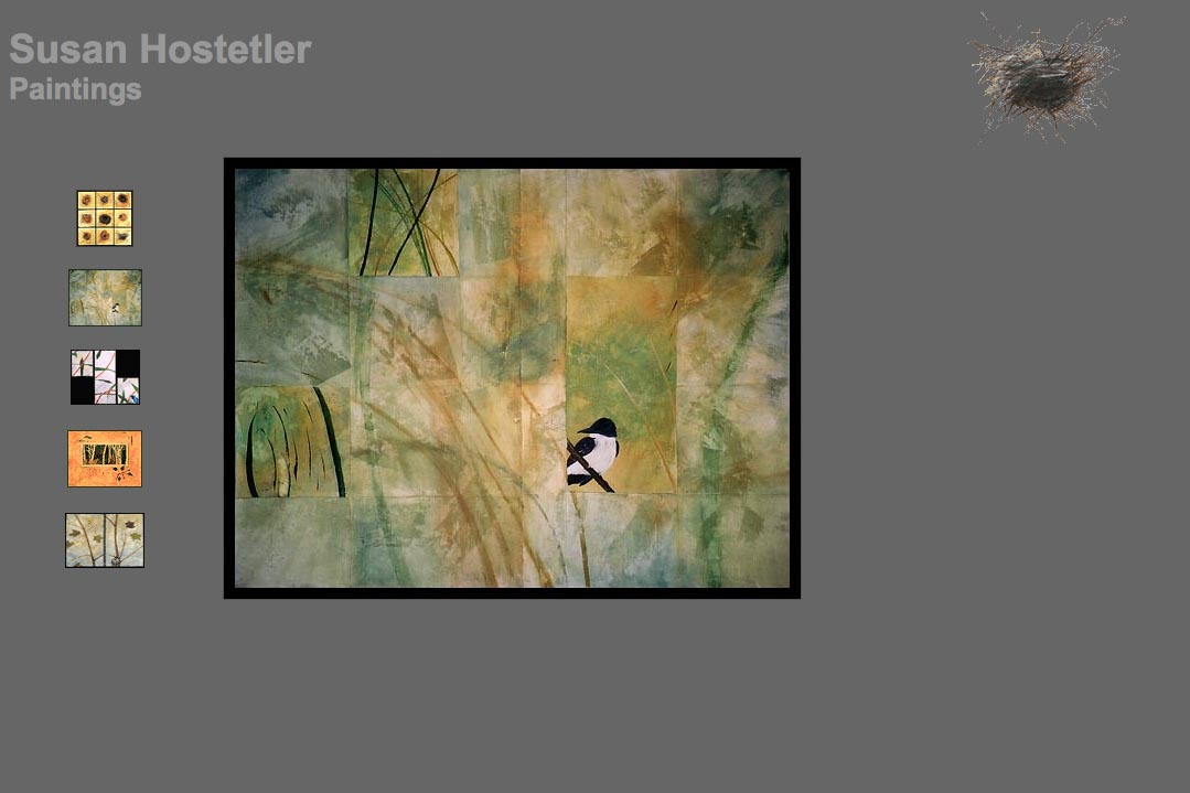 web design for a mixed media artist - Susan Hostetler - paintings page