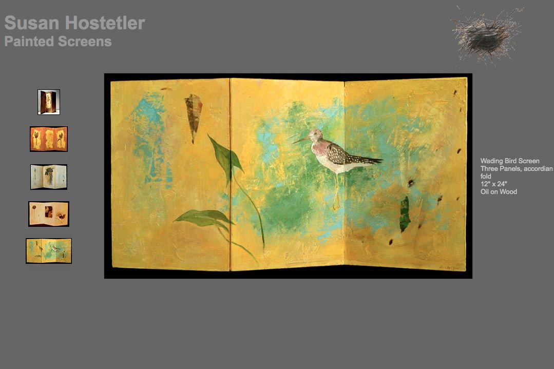 web design for a mixed media artist - Susan Hostetler - screens page