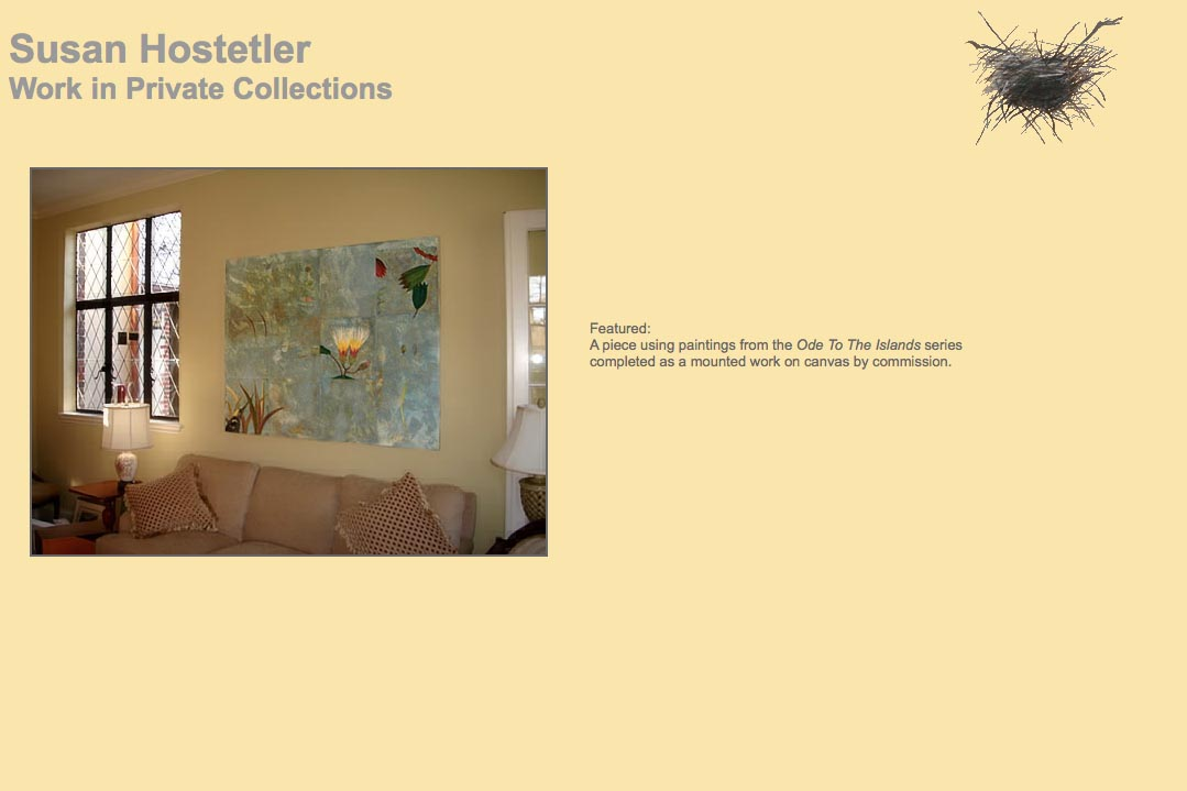web design for a mixed media artist - private collections page