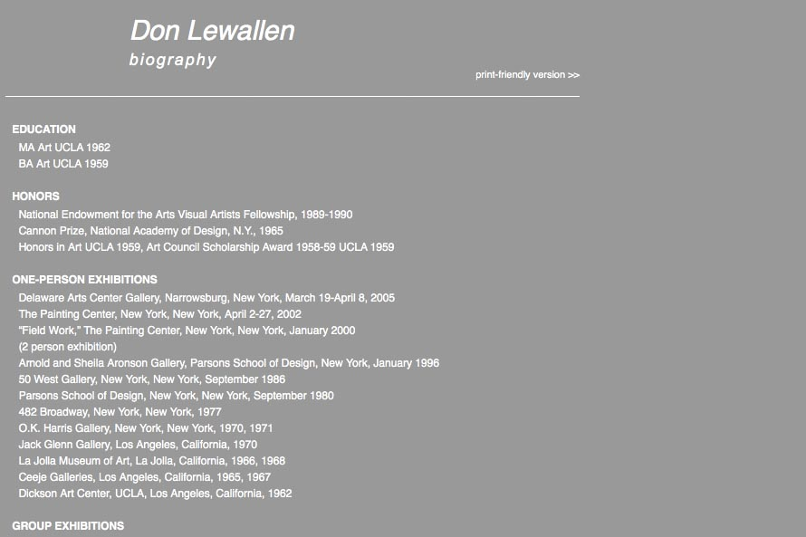 early web design for an abstract artist: Don Lewallen - biography page