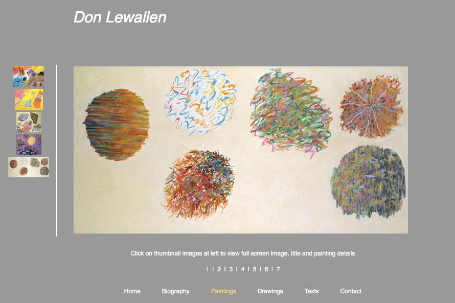 early web design for an abstract artist: Don Lewallen -paintings portfolio page