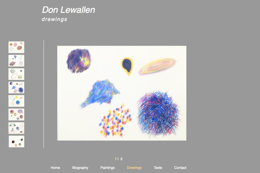 early web design for an abstract artist: Don Lewallen - drawings portfolio page