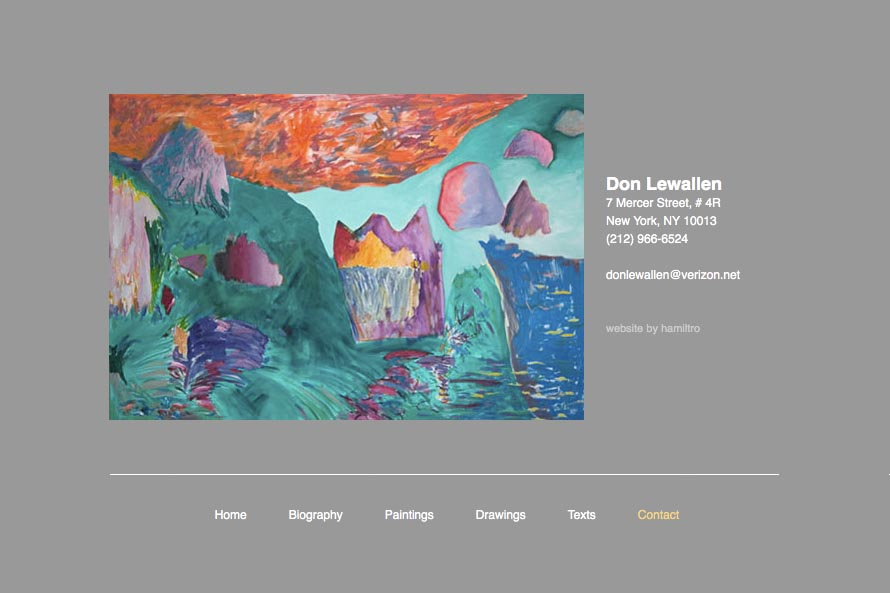early web design for an abstract artist: Don Lewallen - contact page