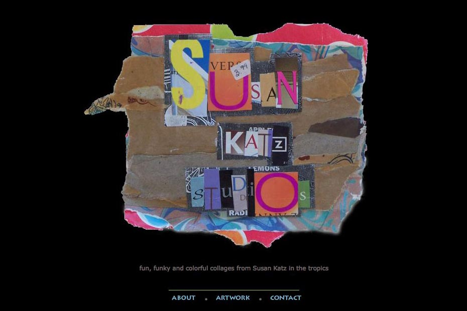 web design for a collage and mixed media artist - Sue Katz