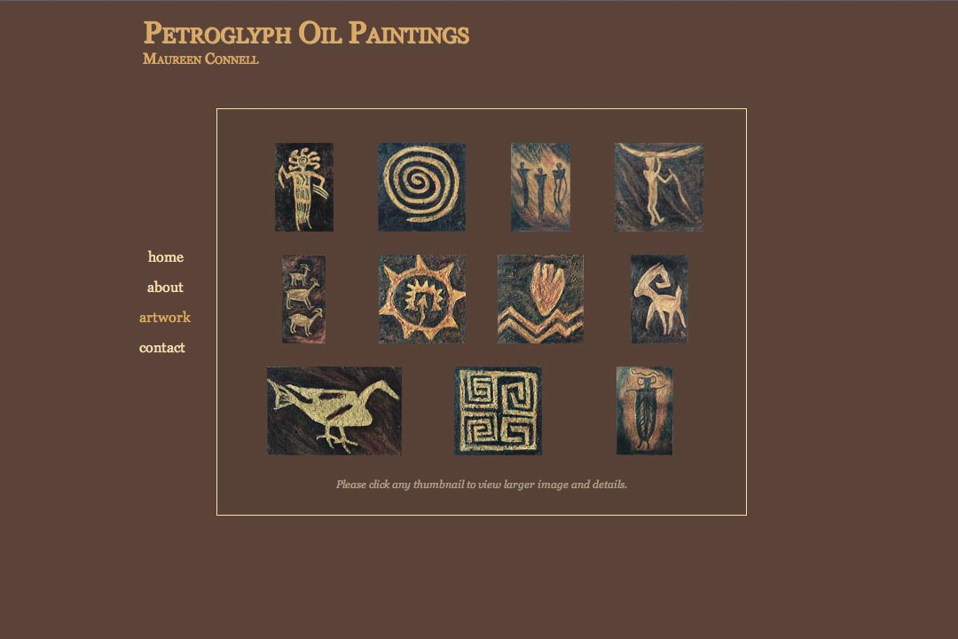 web design for an artist - petroglyph paintings - artwork index page