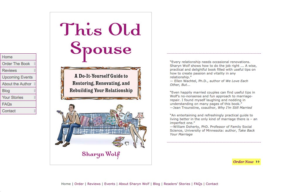 web design for a book about relationships by Sharyn Wolf