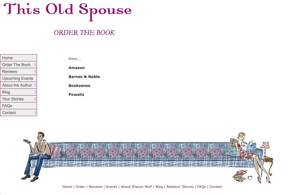 web design for a book about relationships - book orders page