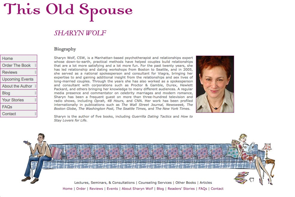 web design for a book about relationships - about the author Sharyn Wolf page