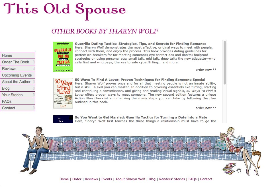 web design for a book about relationships - page about other books published by Sharyn Wolf