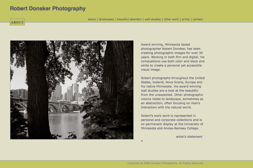web design for a photographer: Robert Donsker - about page