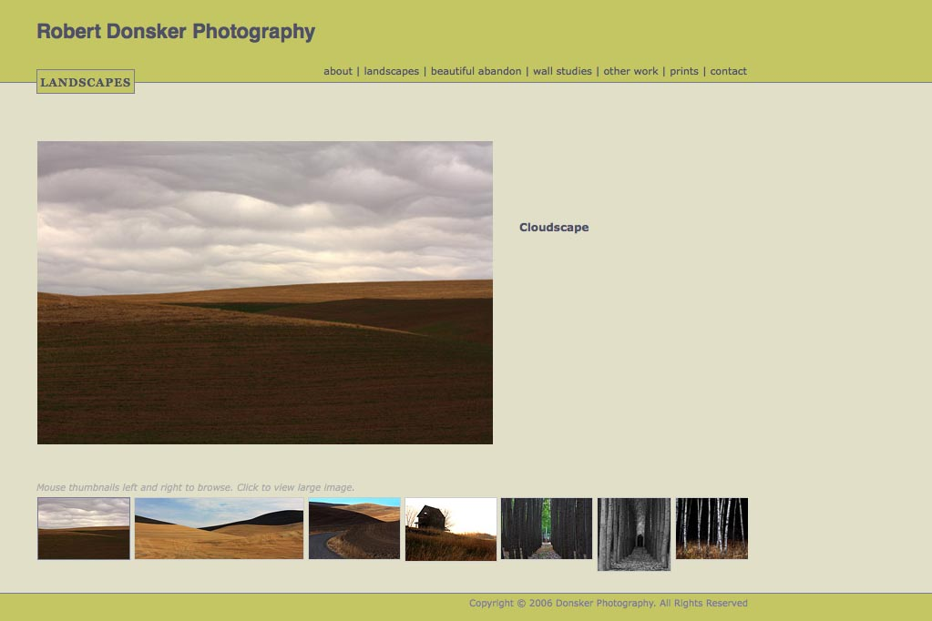 web design for a photographer: Robert Donsker - landscapes portfolio page