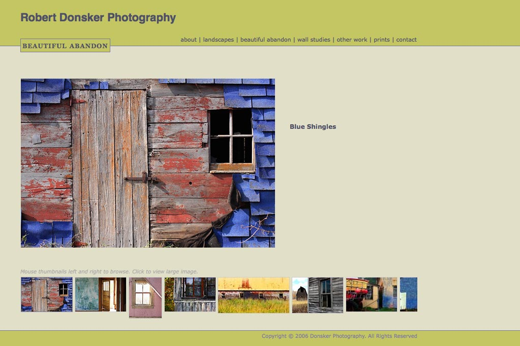 web design for a photographer: Robert Donsker - beautiful abandon portfolio page
