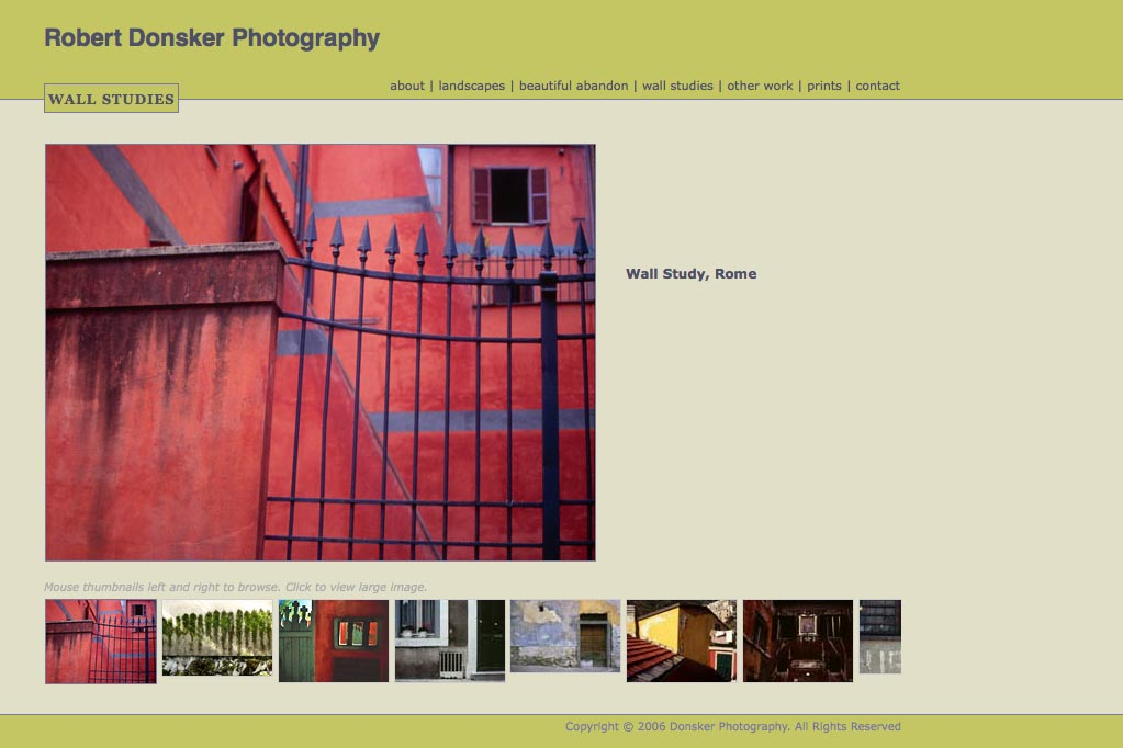 web design for a photographer: Robert Donsker - wall studies portfolio page