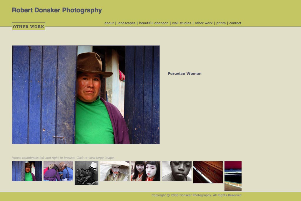 web design for a photographer: Robert Donsker - other work portfolio page