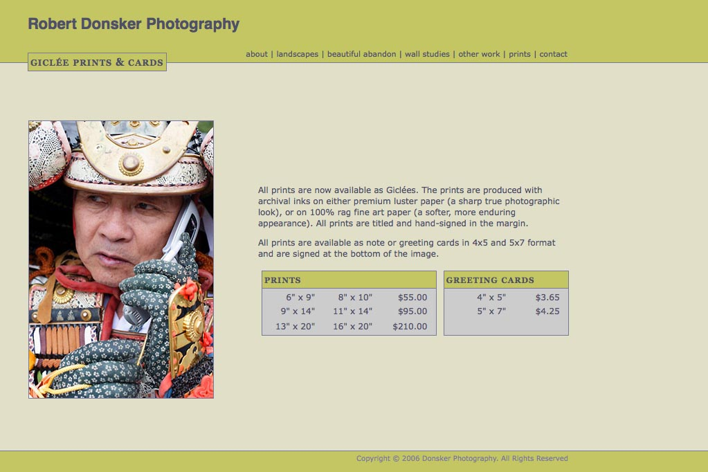 web design for a photographer: Robert Donsker - prints page