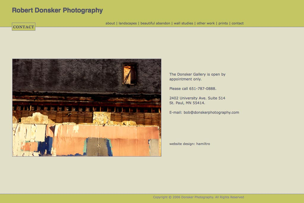 web design for a photographer: Robert Donsker - contact page