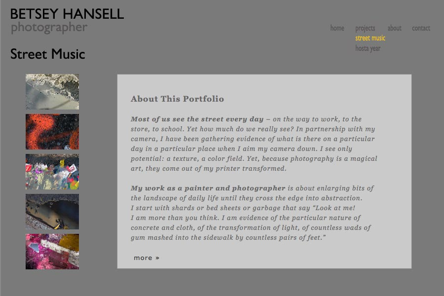 early web design for a photographer - Betsey Hansell - street music portfolio statement