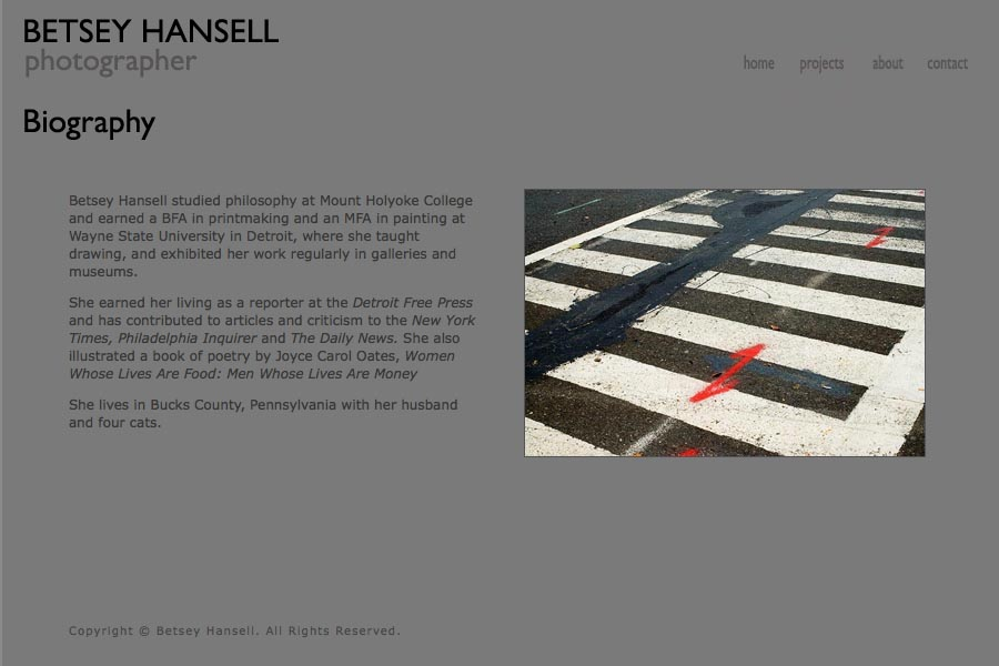 early web design for a photographer - Betsey Hansell - biography page