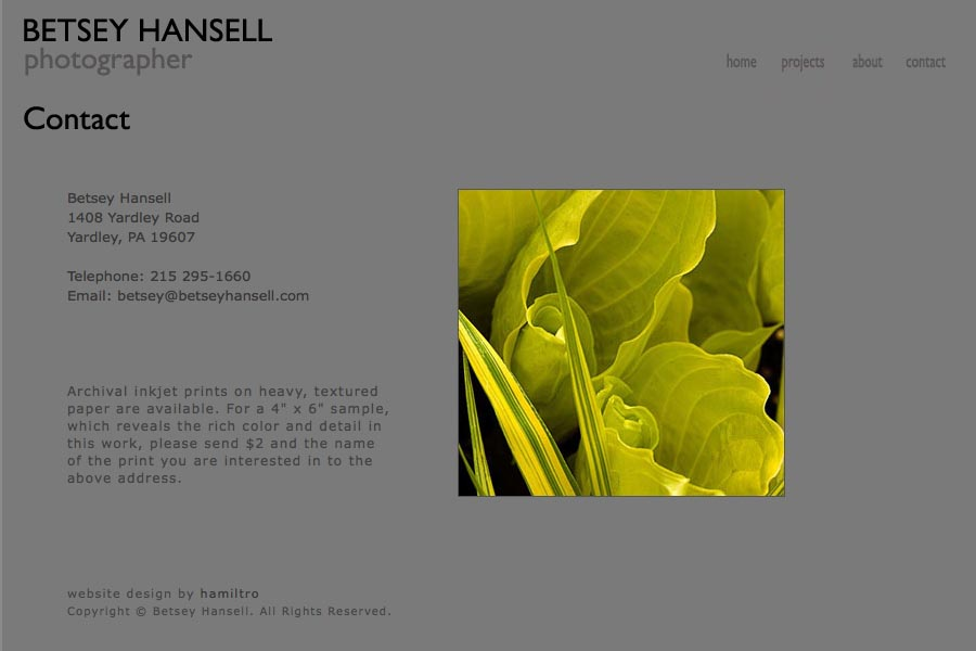 early web design for a photographer - Betsey Hansell - contact page