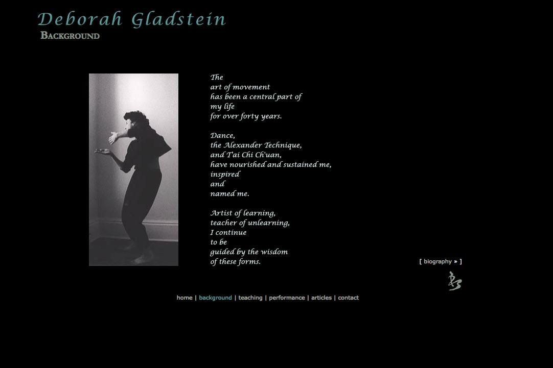 web design for a dancer - Deborah Gladstein - background page