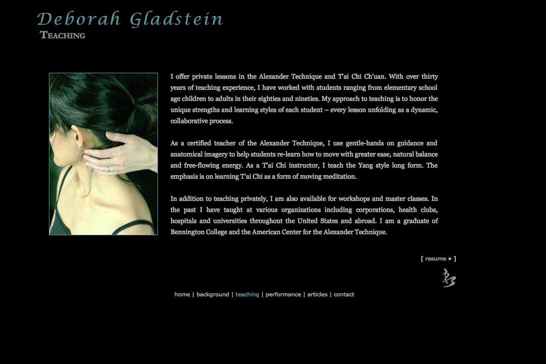 web design for a dancer - Deborah Gladstein - teaching page
