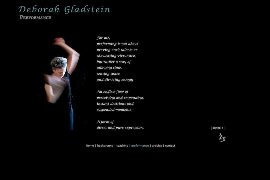 web design for a dancer - performance page