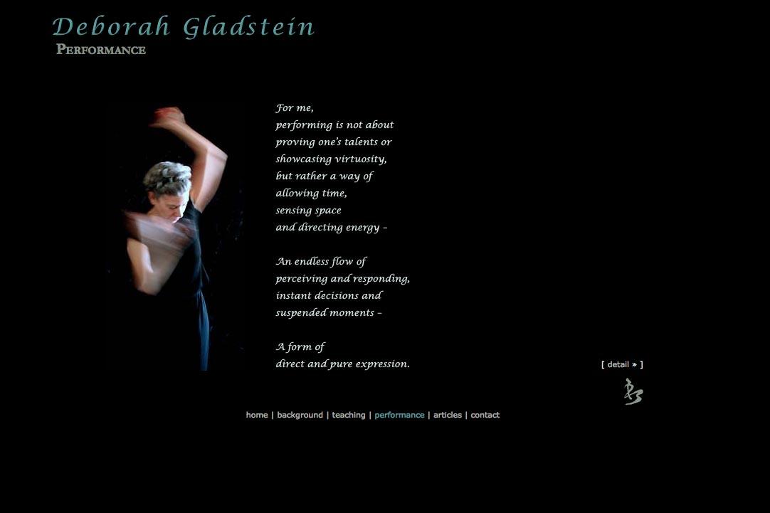 web design for a dancer - Deborah Gladstein - performance page