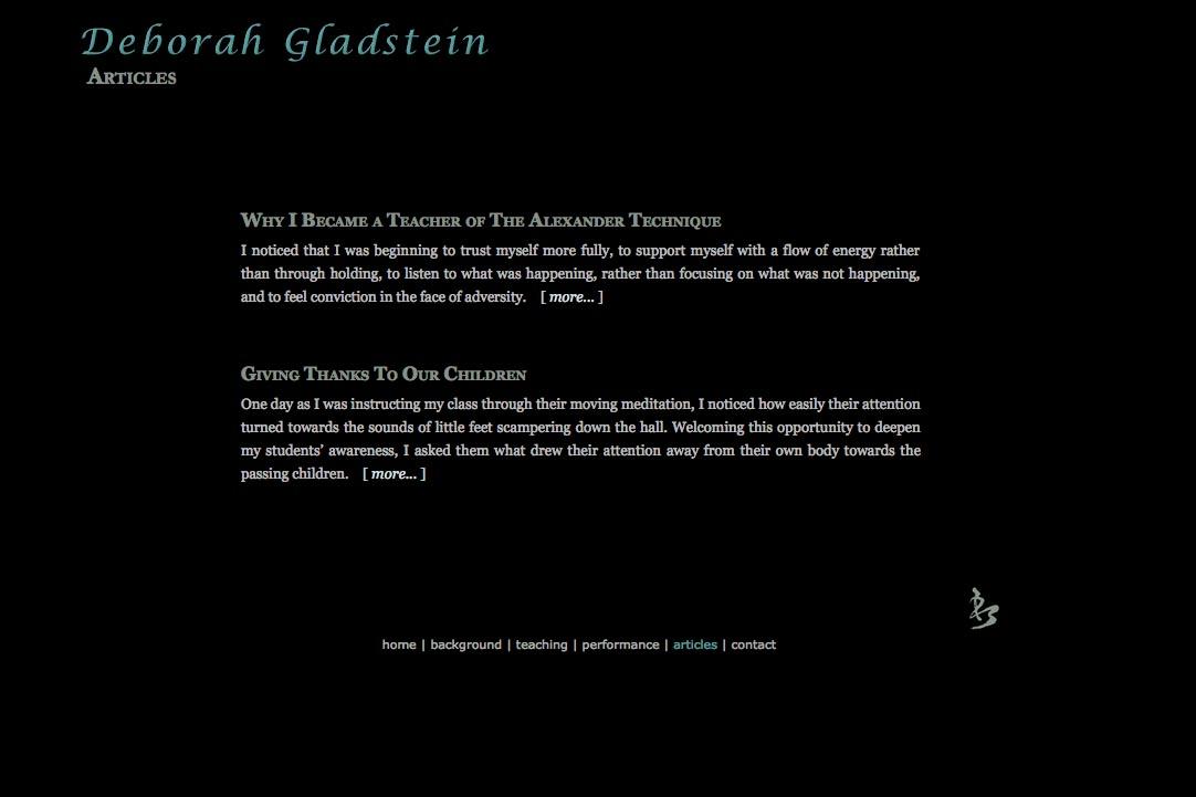 web design for a dancer - articles landing page