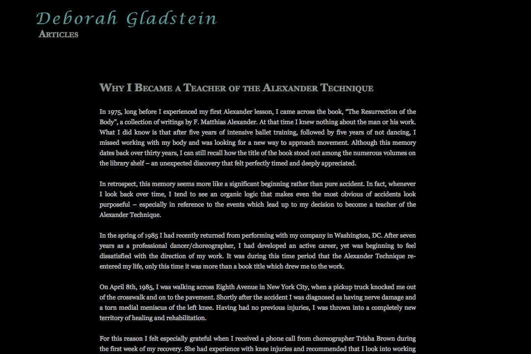 web design for a dancer - Deborah Gladstein - single article page