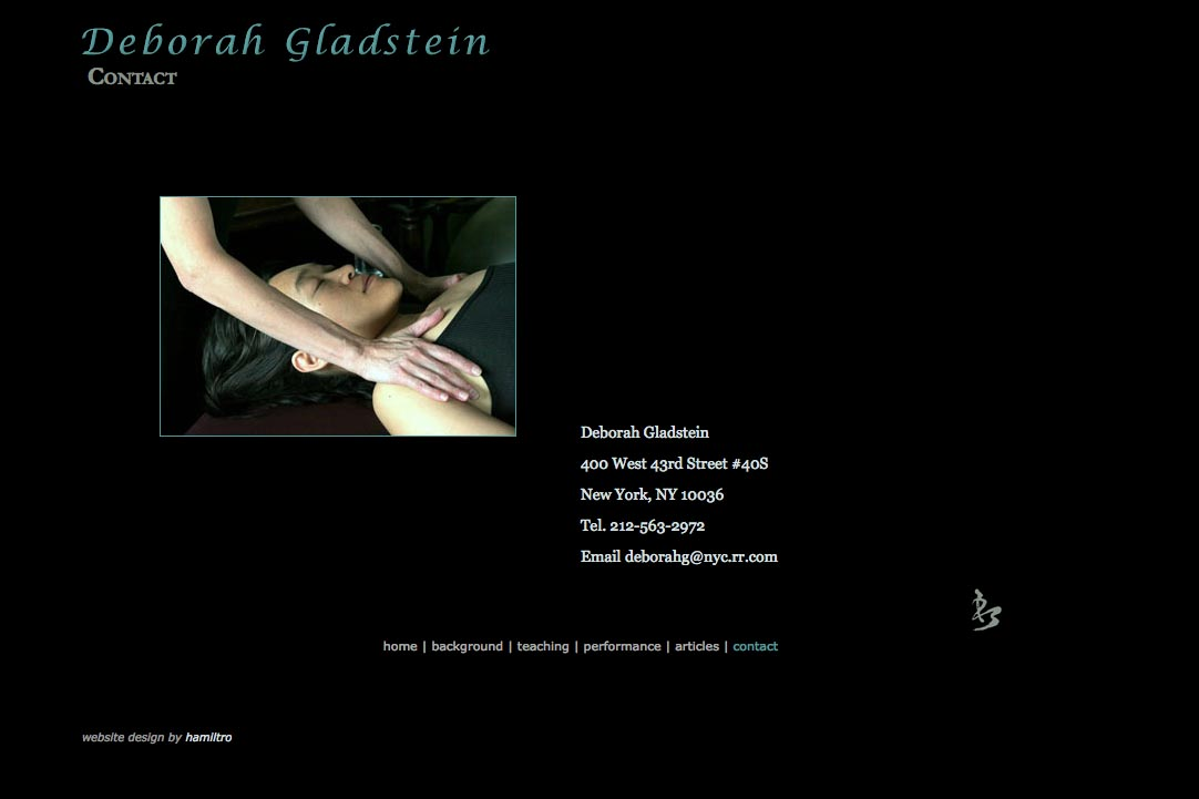 web design for a dancer - Deborah Gladstein - contact page