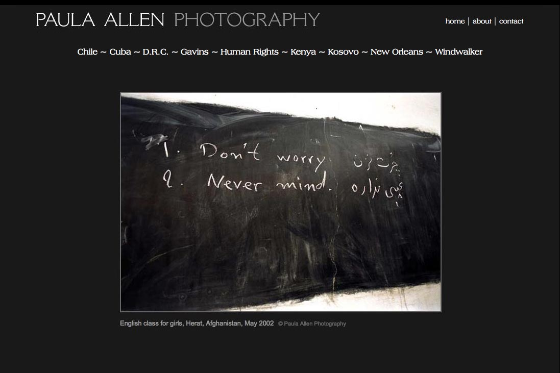 web design for a social documentary photographer - Paula Allen