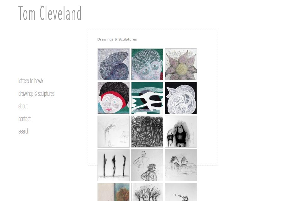 web design for an artist - Tom Cleveland - drawings and sculptures index page