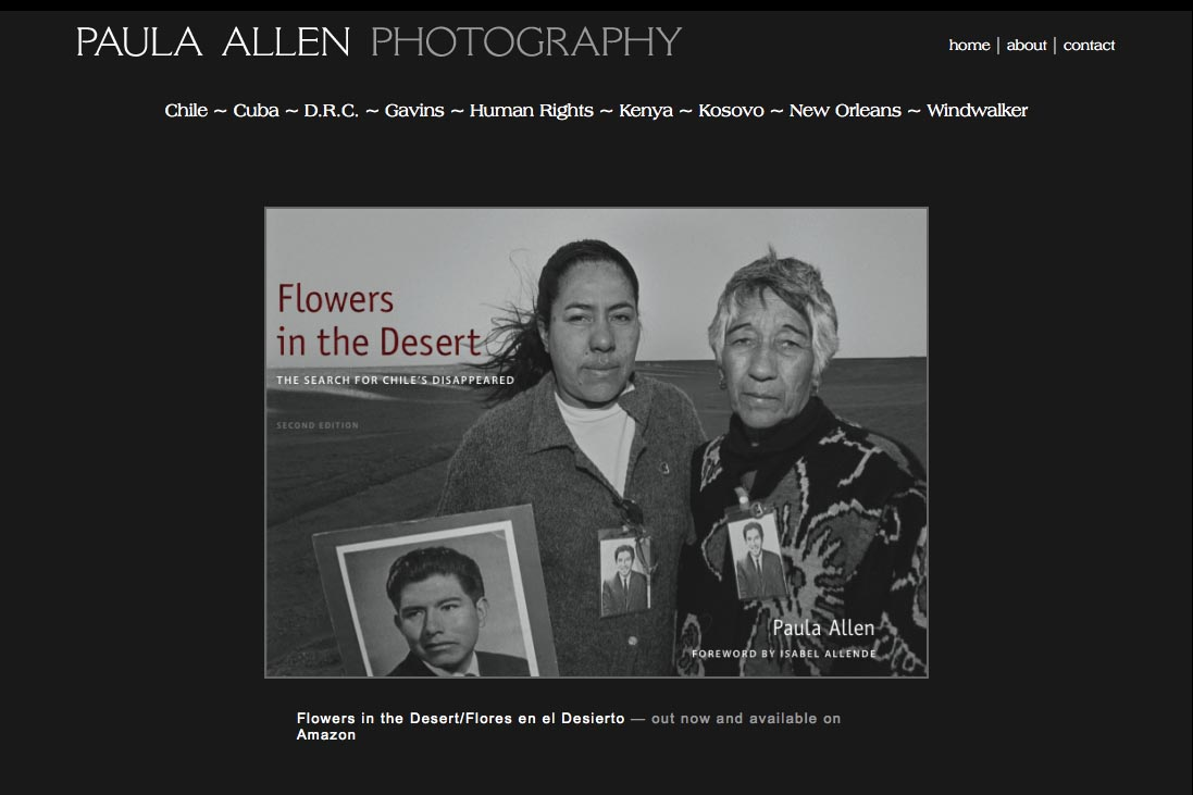 web design for a social documentary photographer - home page