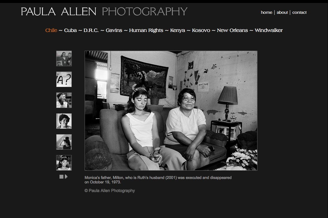 web design for a social documentary photographer - Paula Allen - chile portfolio page