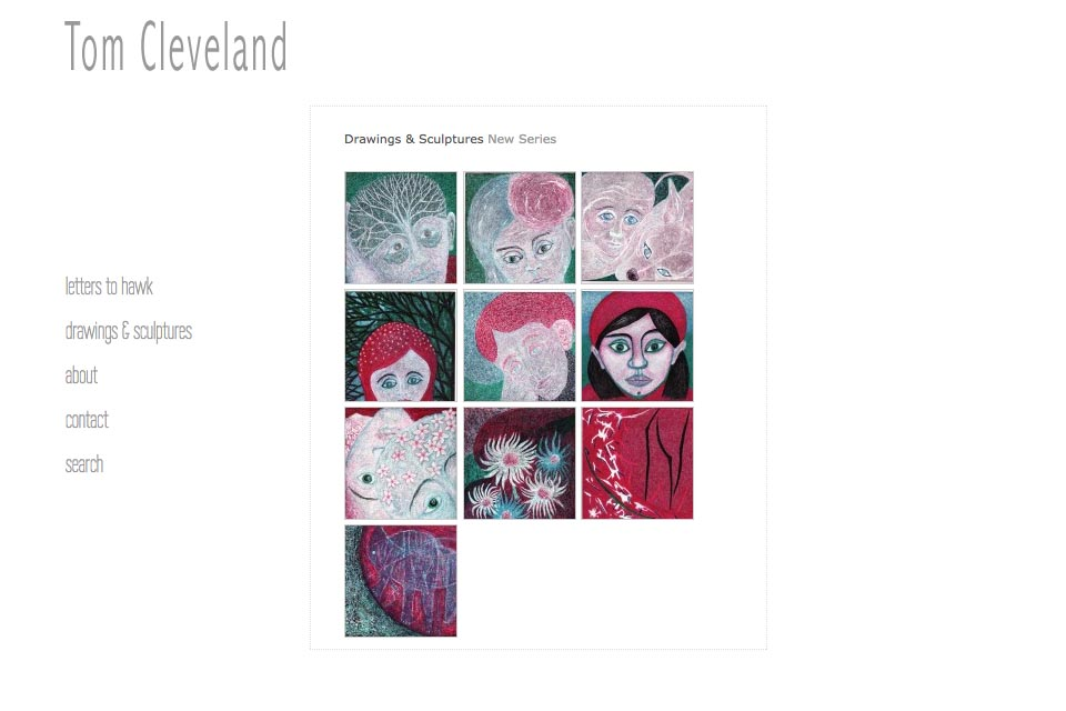 web design for an artist - Tom Cleveland - drawings and sculptures new series index page