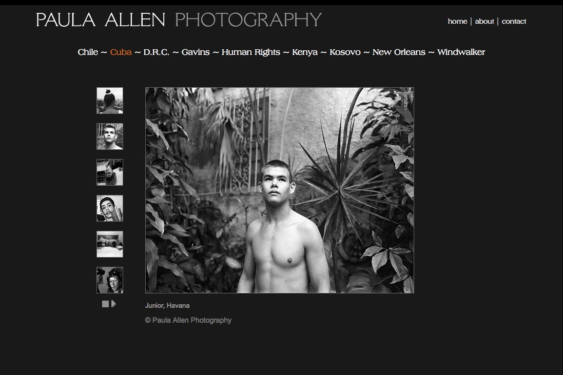 web design for a social documentary photographer - cuba portfolio page