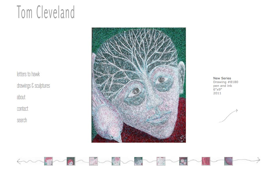 web design for an artist - Tom Cleveland - single artwork page in drawings and sculptures series