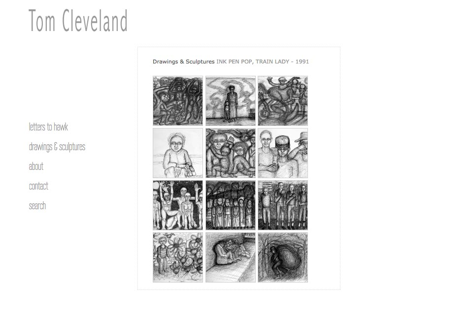 web design for an artist - Tom Cleveland - pen pop drawings and sculptures series index page