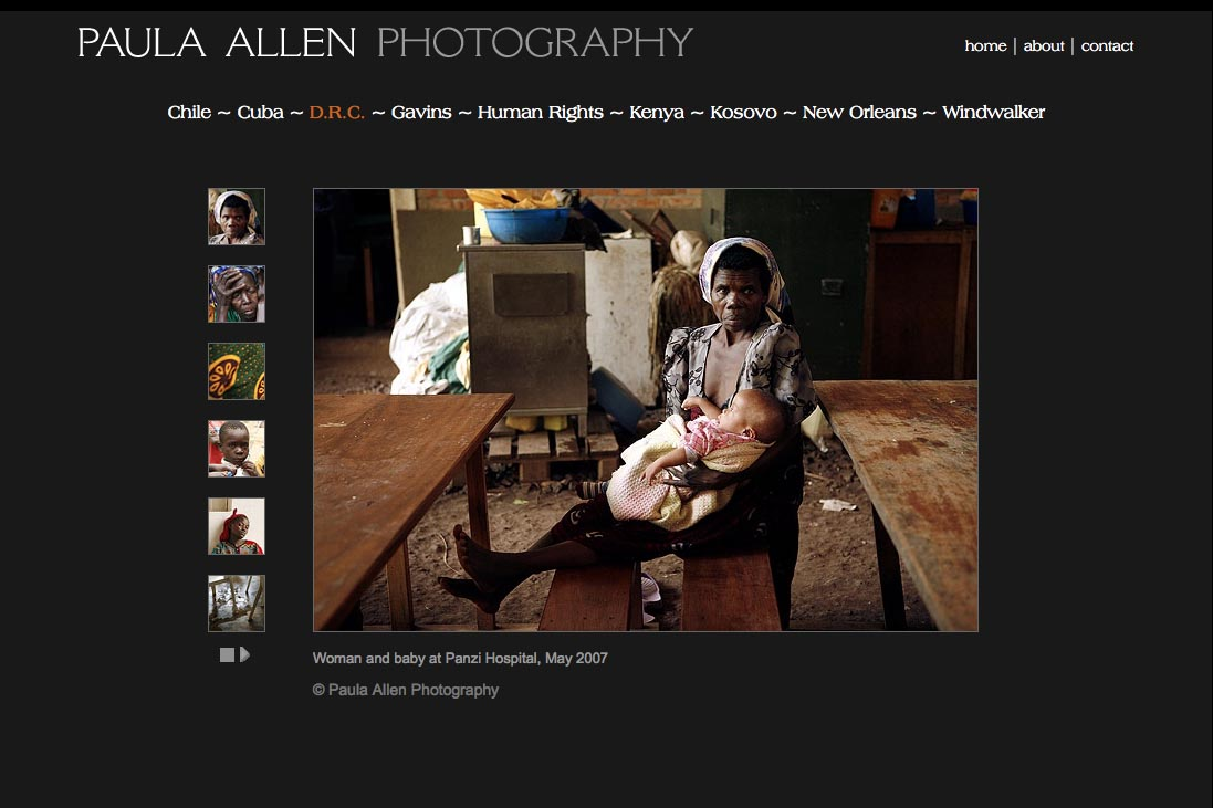 web design for a social documentary photographer - Paula Allen - drc portfolio page