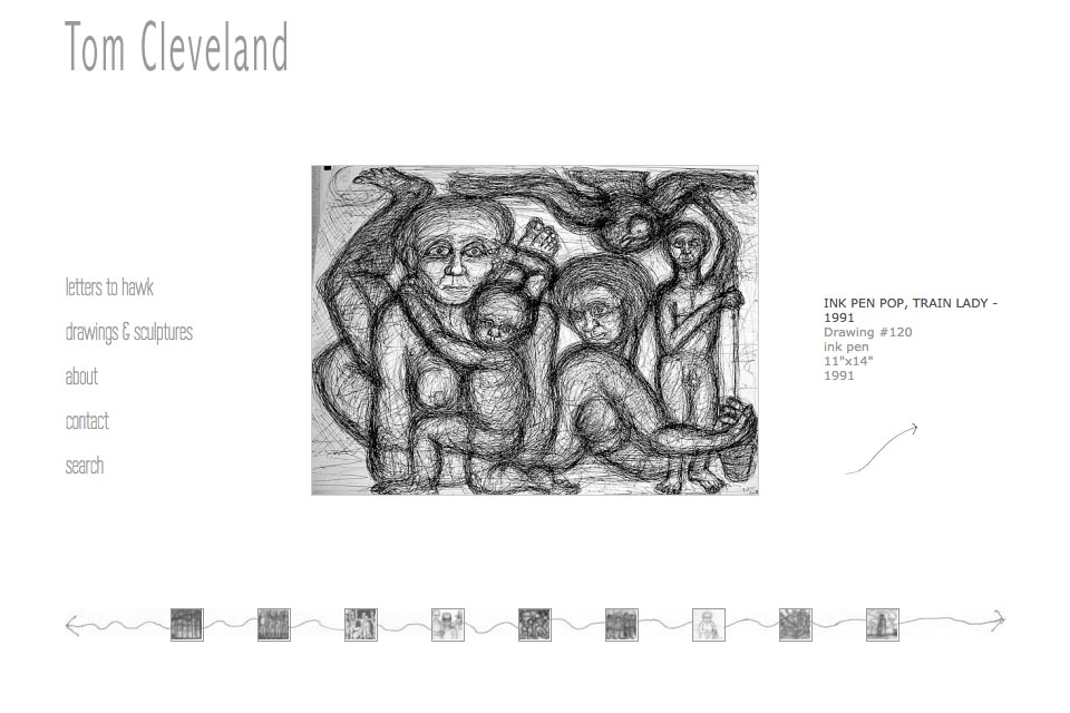 web design for an artist - Tom Cleveland - single artwork page in pen pop series