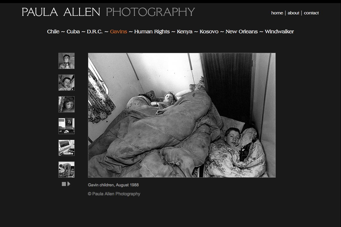 web design for a social documentary photographer - gavins portfolio page