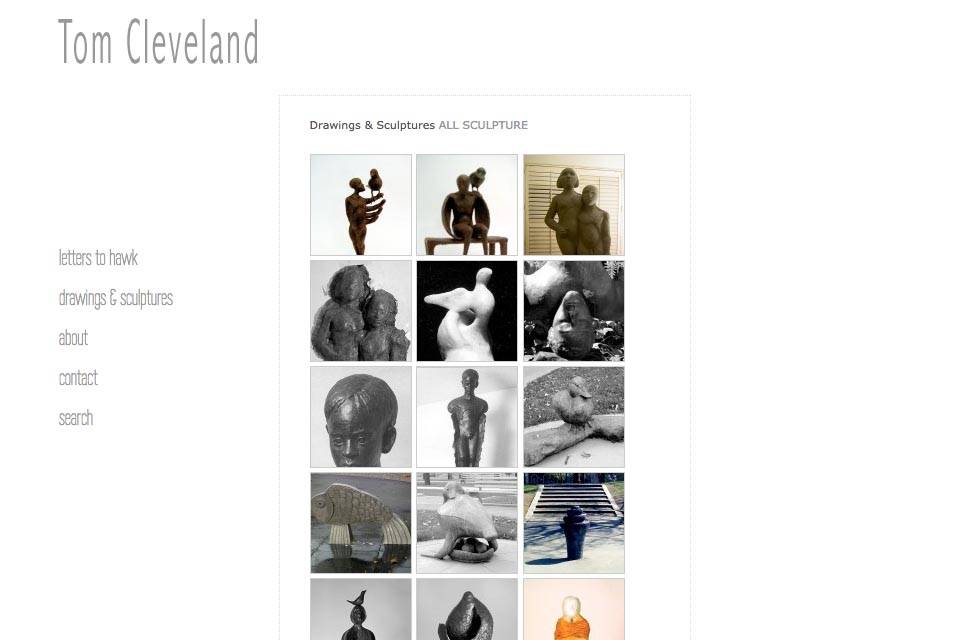 web design for an artist - Tom Cleveland - all sculpture index page